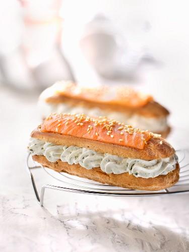 Smoked salmon and wasabi whipped cream Eclair