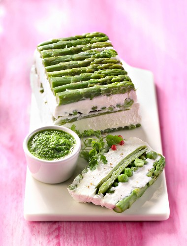 Fromage frais and green vegetable terrine with dandelion puree