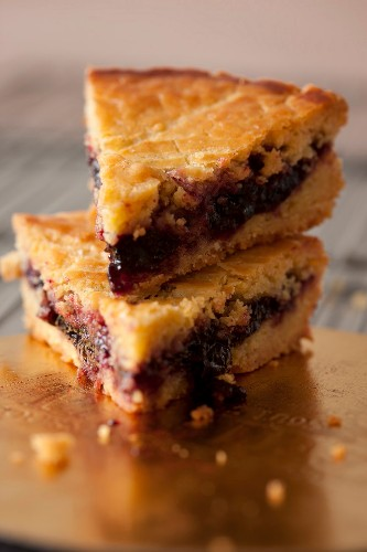 Slices of cherry jam Basque cake