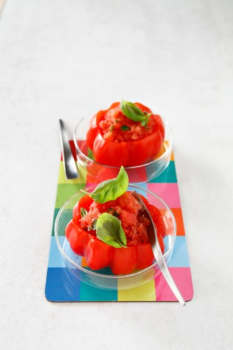 Tomato, balsamic vinaigar and basil sorbet served in tomatoes