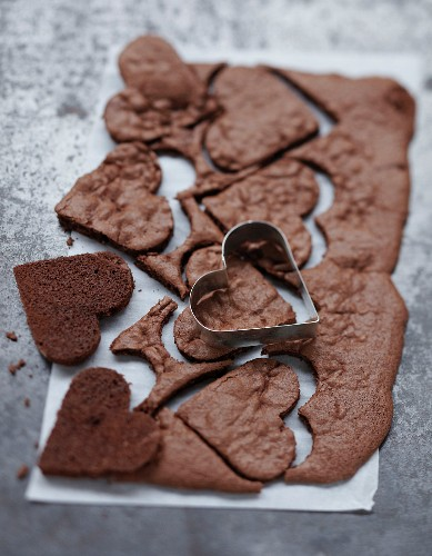 Cutting chocolate hearts with a biscuit cutter