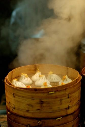 Steaming dumplings in a street in China