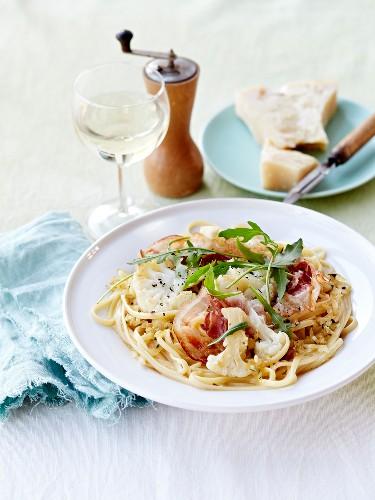 Linguine with pancetta,cauliflower and garlic