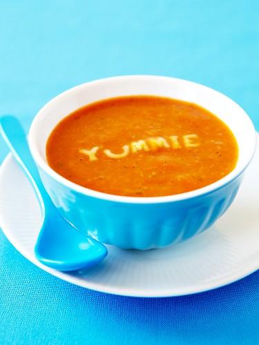 Cream of pumpkin soup with alphabet pasta