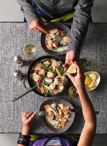 Navarin de saumon (French salmon ragout)