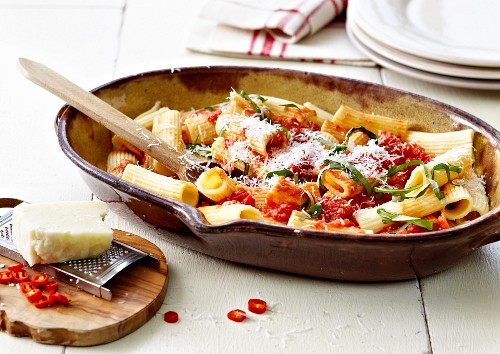 Tubettipasta with red hot peppers and parmesan