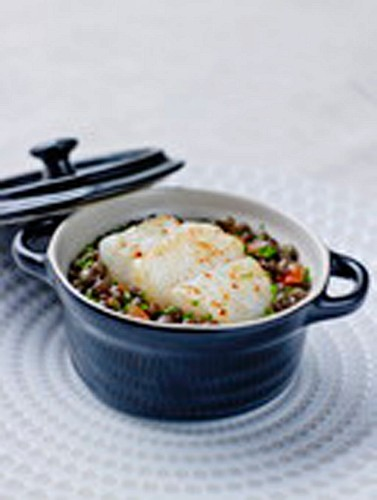 Roasted cod fillet with lentil stew
