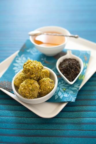 White chocolate-green tea- pistachio truffles
