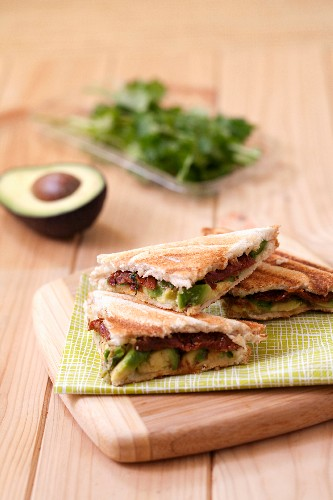 Avocado and sun-dried tomato toasted sandwich