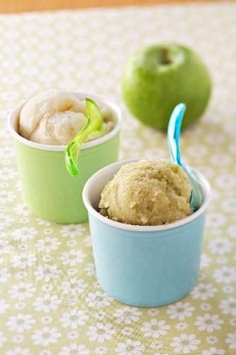 Granny Smith apple sorbet and pear sorbet