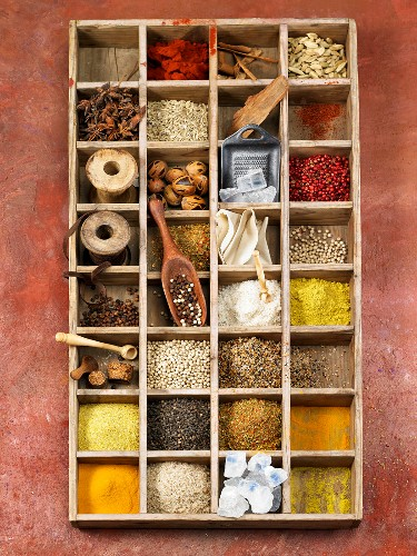 Compartment box of spices