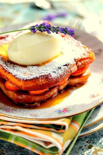 Caramelized apricot brioche pain perdu,almond milk ice cream