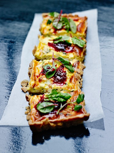 Courgette,red onion chutney and beetroot leaf quiche