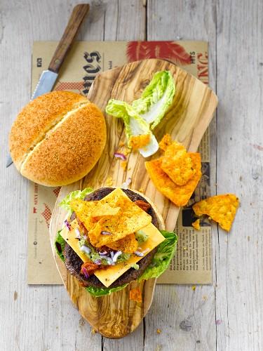 Burger with nachos