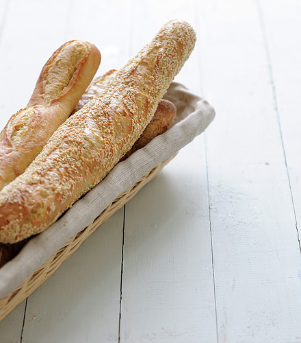 Assortment of baguettes in a bread basket