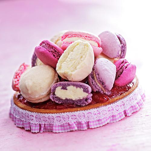 Pink praline and Macaron girly tart