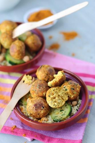 Chickpea, tofu, semolina and courgette balls