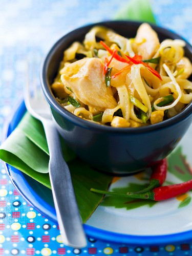 Noodles sauté with chicken, onions and pepper