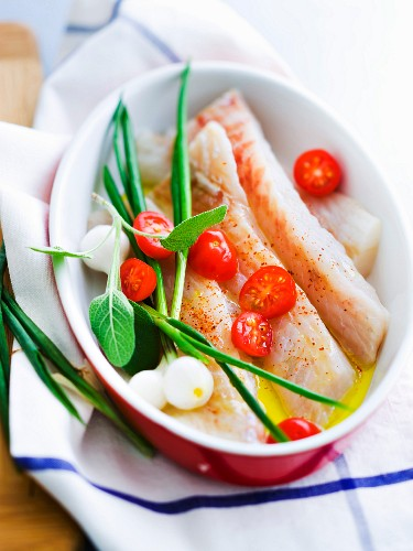 Fish fillets in a marinaed