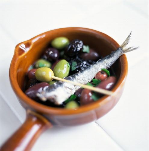 Olive marinate (Marinated olives with sardine, Italy)
