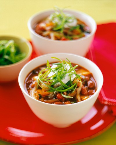 Two Bowls of Red Bean and Poblano Chili
