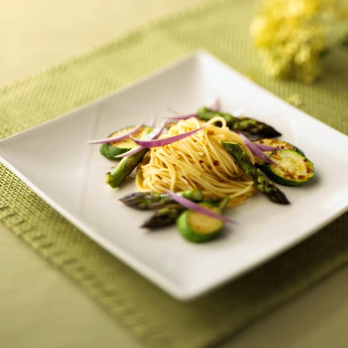 Angel Hair Pasta with Zucchini, Asparagus and Red Onion