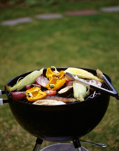 Vegetables on the Grill with Tongs