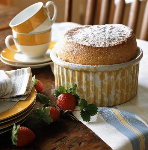 Vanilla soufflé with Alpine strawberries