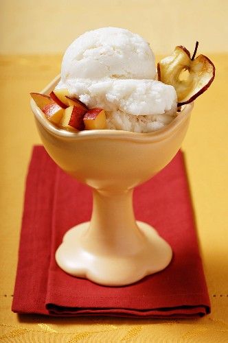 Peach Sorbet Garnished with Diced Nectarine and an Apple Chip