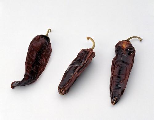 Three Dried Aji Colorado Chili Peppers