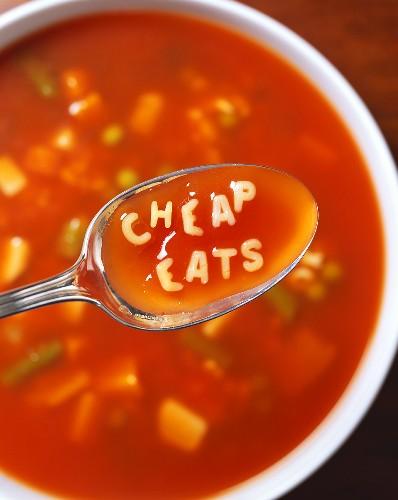 Alphabet Vegetable Soup on a Spoon: Cheap Eats