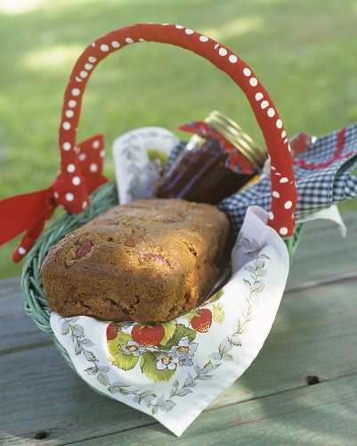 Bread and jam in gift basket