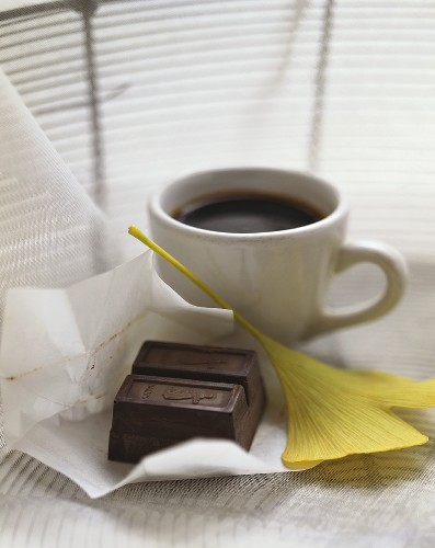 Pieces of chocolate, ginkgo leaf and espresso