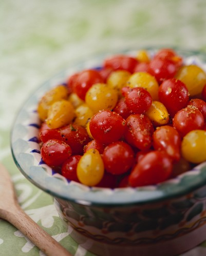 Marinated Red and Yellow Pear Tomato
