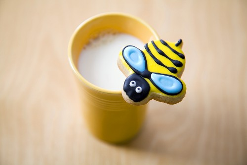 Bumble Bee Cookie on a Cup of Milk
