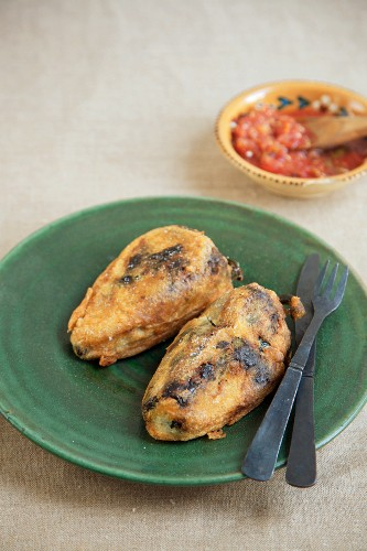 Two Stuffed and Fried Chili Peppers, Chiles Rellenos