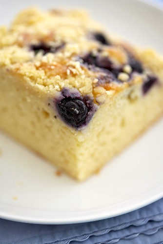 Close Up of a Piece of Blueberry Crumb Coffee Cake