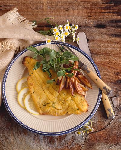 Oven Fried Catfish with Potato and Lemon