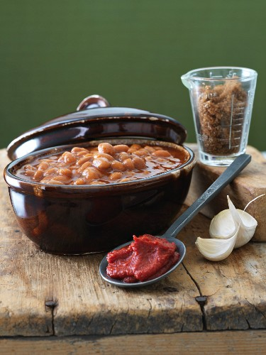 Dish of Baked Beans with Seasoning Ingredient