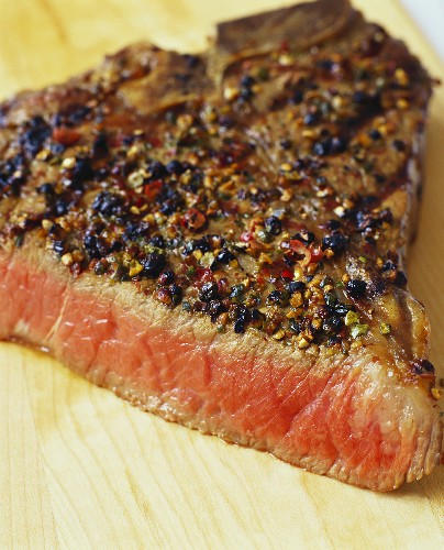 Peppered Steak; Sliced
