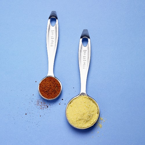 Chicken Bouillon and Chicken Seasoning in Measuring Spoons; Blue Background