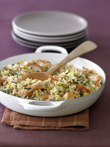 Chicken and Rice Casserole with Wooden Spoon