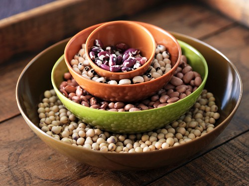 Stacked Bowls of Assorted Beans