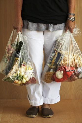 Person Holding Plastic Grocery Bags