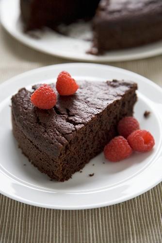 Slice of Chocolate Beetroot Cake with Raspberries