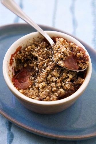 Plum Crumble in Individual Baking Dish; Spoon