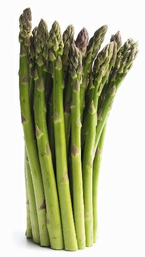 Fresh Asparagus Spears; Standing; White Background
