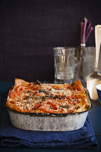 Winter Vegetable Lasagna in a Baking Dish
