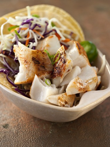 Fish Taco in a White Bowl