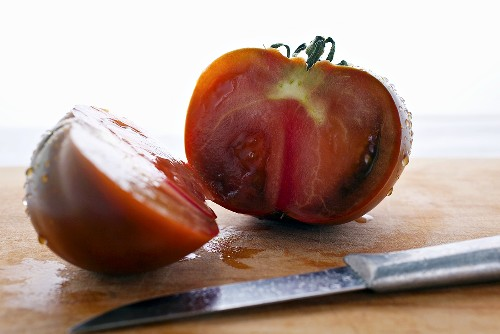 Red heirloom tomato, cut in half
